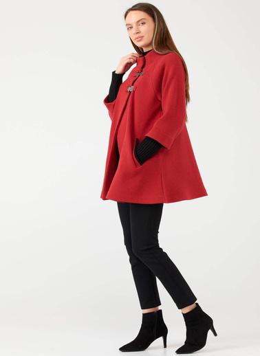 Sementa Agraflı Yaka Ve Kol Detaylı Kadın Ceket - Kırmızı Kırmızı
